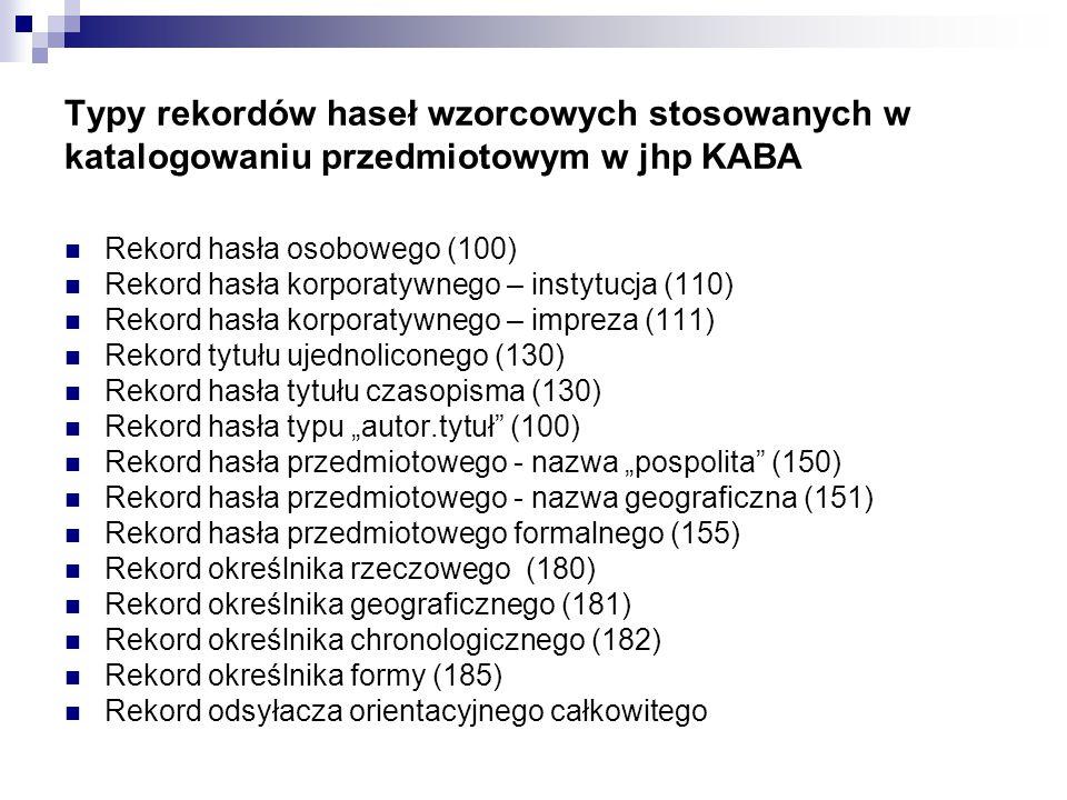 Typy rekordów haseł wzorcowych stosowanych w katalogowaniu przedmiotowym w jhp KABA