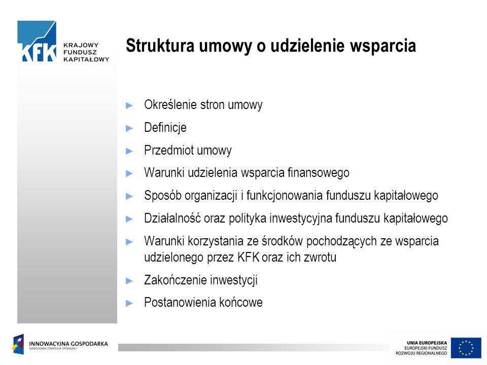 Struktura umowy o udzielenie wsparcia