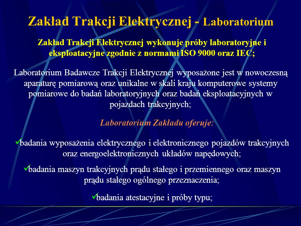 Zakład Trakcji Elektrycznej - Laboratorium