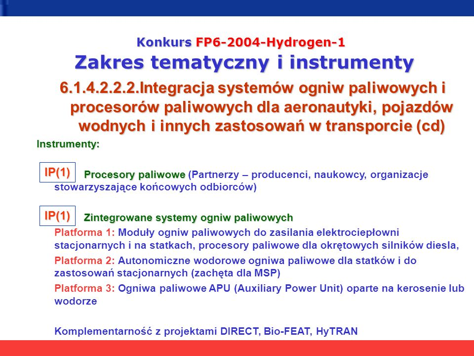 Konkurs FP6-2004-Hydrogen-1 Zakres tematyczny i instrumenty