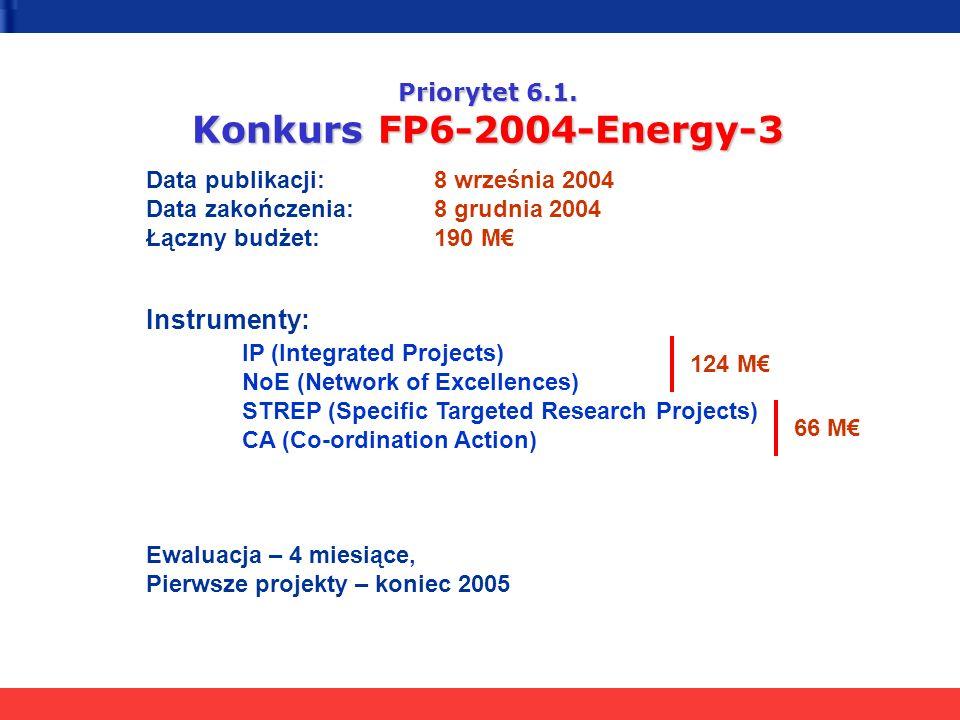 Priorytet 6.1. Konkurs FP6-2004-Energy-3
