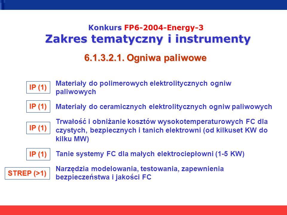 Konkurs FP6-2004-Energy-3 Zakres tematyczny i instrumenty