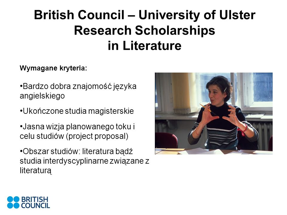 British Council – University of Ulster Research Scholarships in Literature