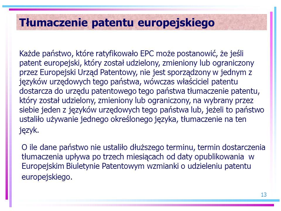 Tłumaczenie patentu europejskiego
