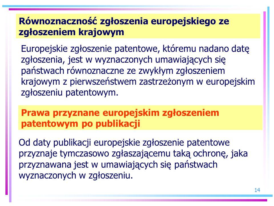 Równoznaczność zgłoszenia europejskiego ze zgłoszeniem krajowym