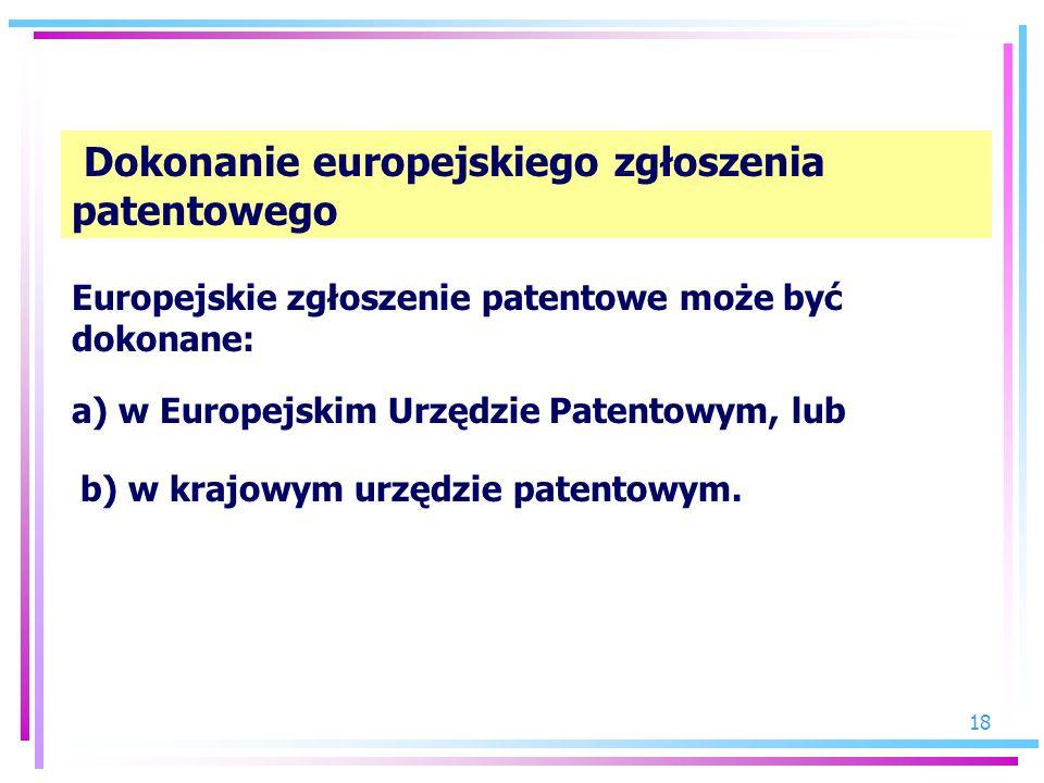 Dokonanie europejskiego zgłoszenia patentowego