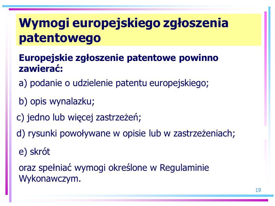 Wymogi europejskiego zgłoszenia patentowego