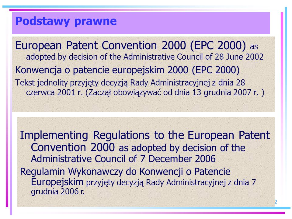 Podstawy prawne European Patent Convention 2000 (EPC 2000) as adopted by decision of the Administrative Council of 28 June 2002.