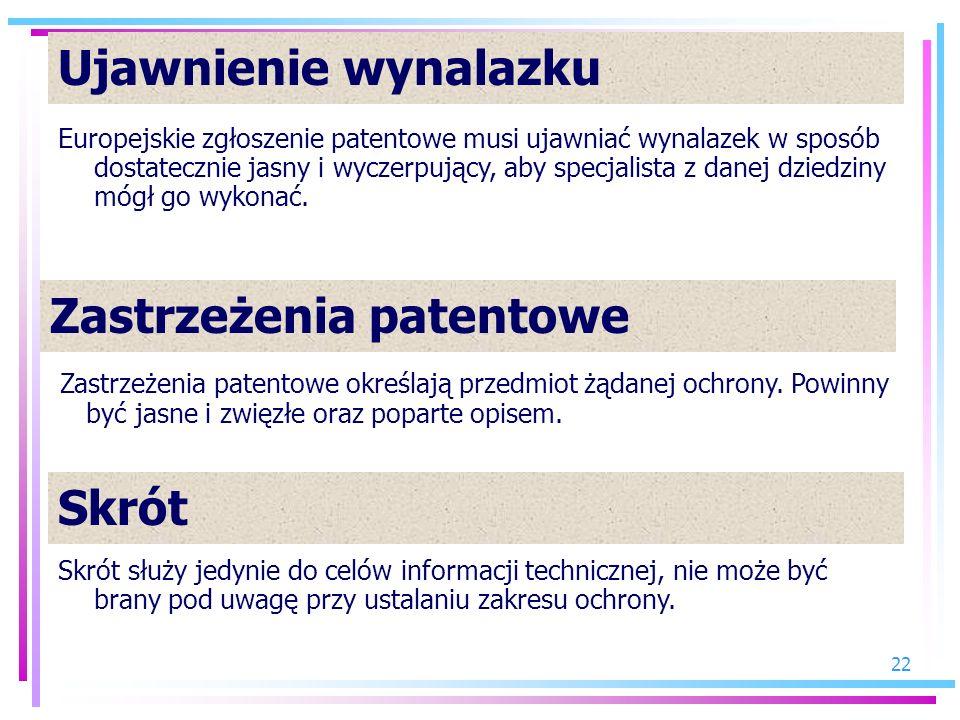 Zastrzeżenia patentowe
