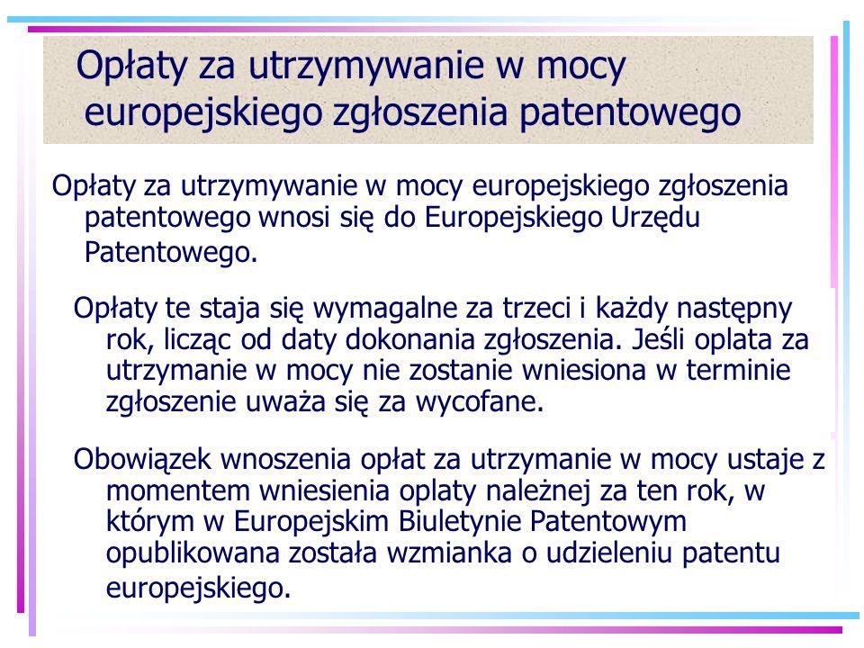 Opłaty za utrzymywanie w mocy europejskiego zgłoszenia patentowego