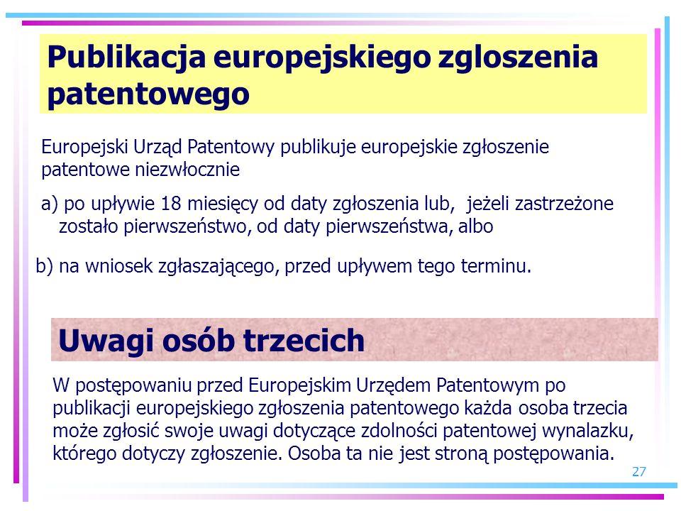 Publikacja europejskiego zgloszenia patentowego