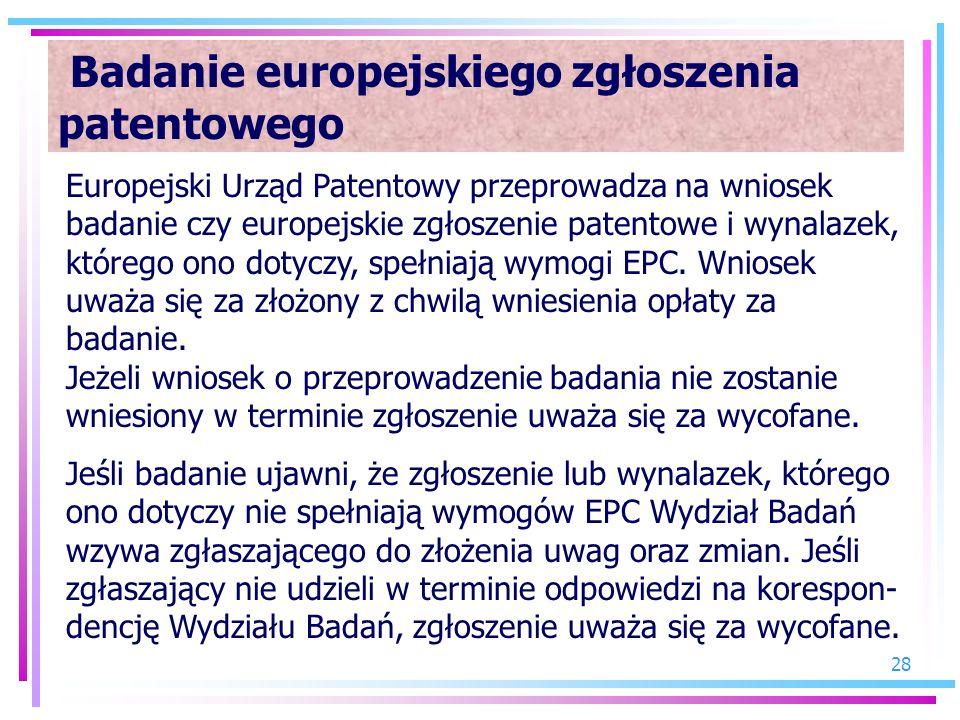 Badanie europejskiego zgłoszenia patentowego