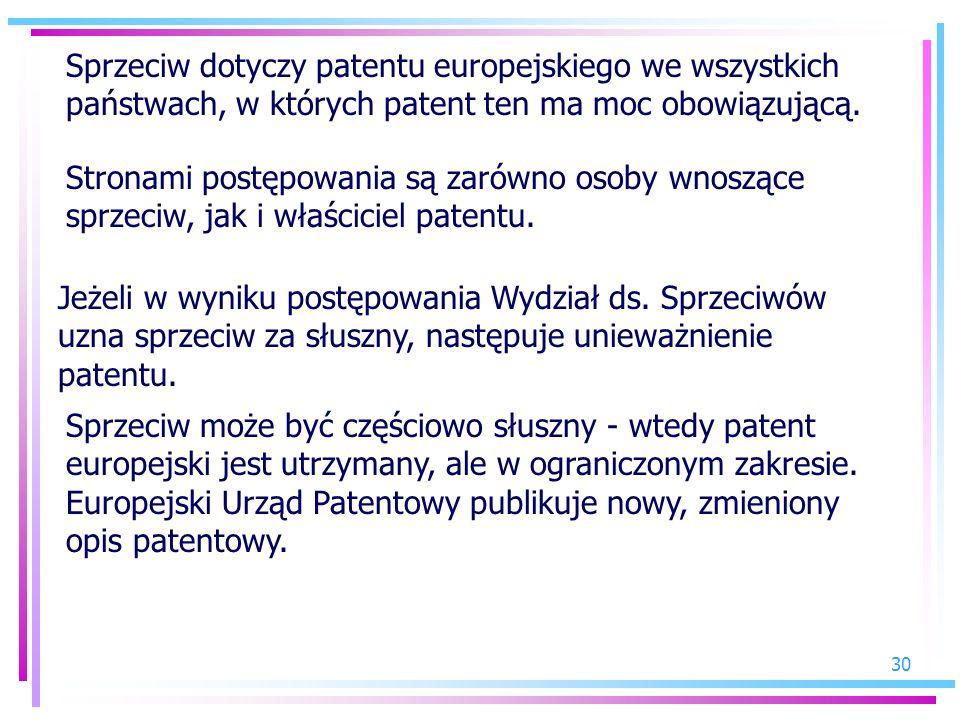 Sprzeciw dotyczy patentu europejskiego we wszystkich państwach, w których patent ten ma moc obowiązującą.