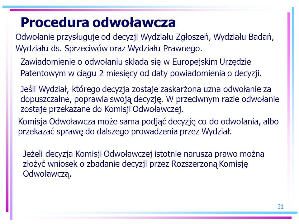 Procedura odwoławcza Odwołanie przysługuje od decyzji Wydziału Zgłoszeń, Wydziału Badań, Wydziału ds. Sprzeciwów oraz Wydziału Prawnego.