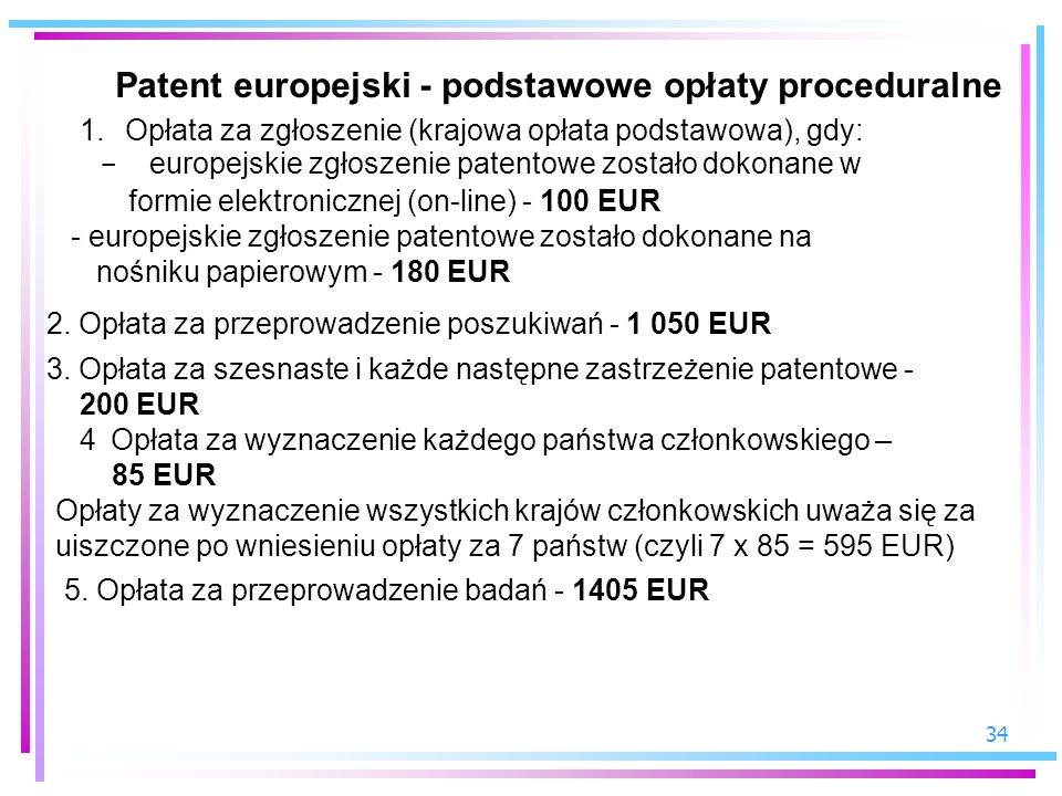 Patent europejski - podstawowe opłaty proceduralne
