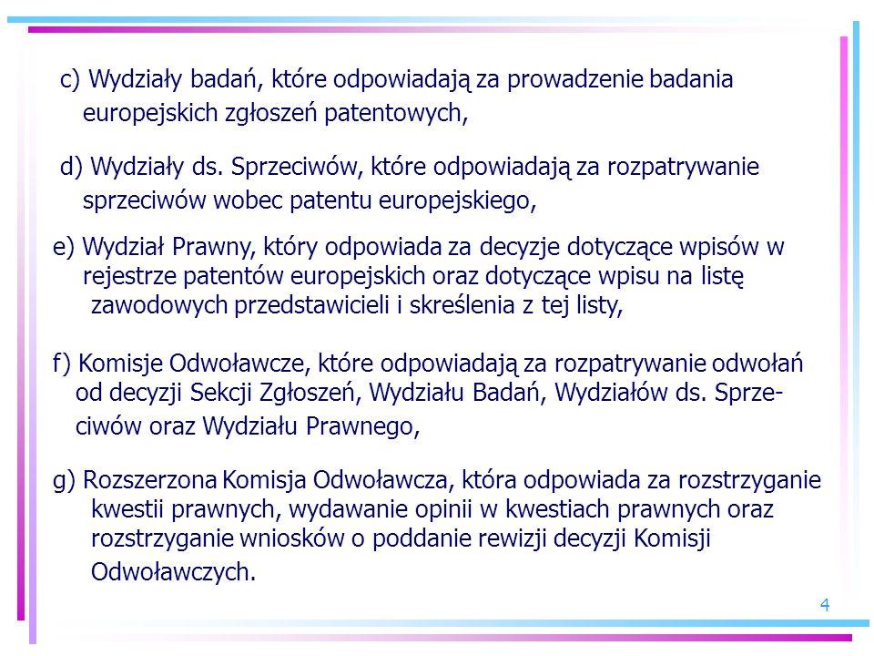 c) Wydziały badań, które odpowiadają za prowadzenie badania