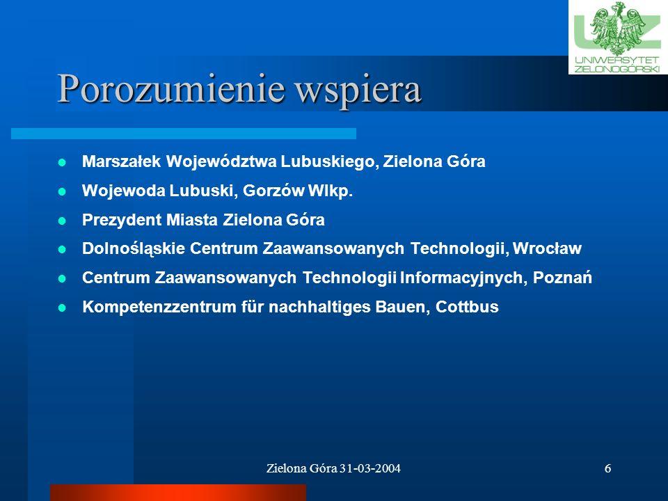 Porozumienie wspiera Marszałek Województwa Lubuskiego, Zielona Góra