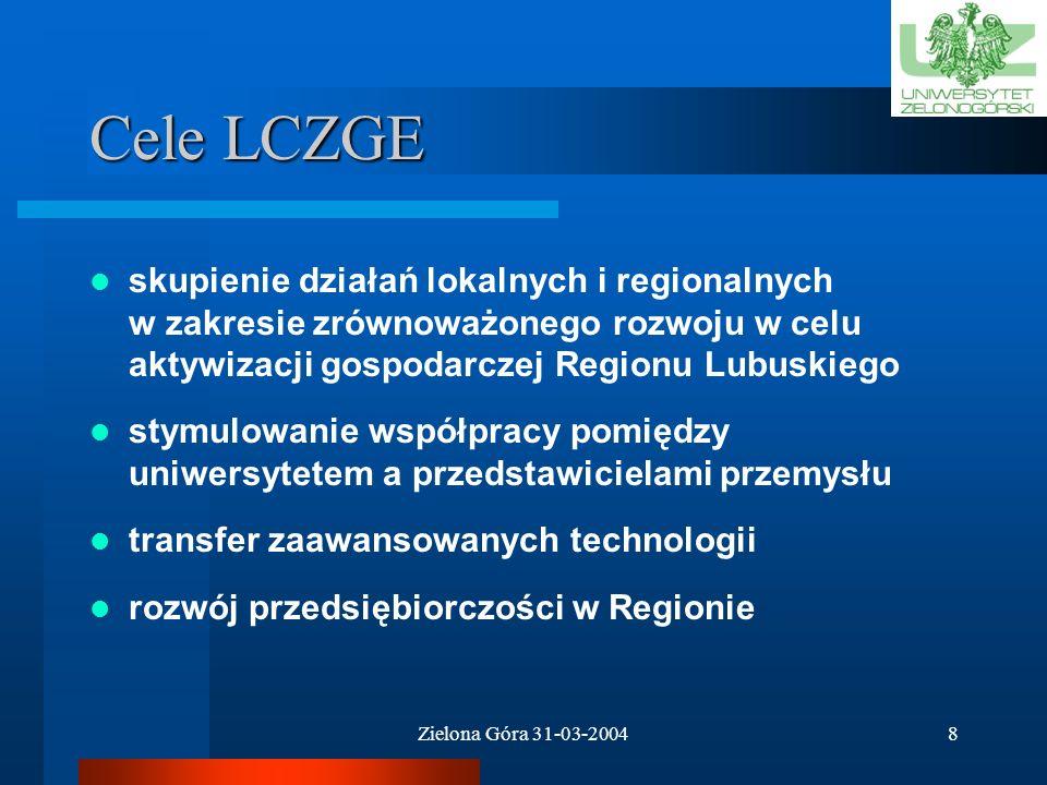 Cele LCZGE skupienie działań lokalnych i regionalnych w zakresie zrównoważonego rozwoju w celu aktywizacji gospodarczej Regionu Lubuskiego.