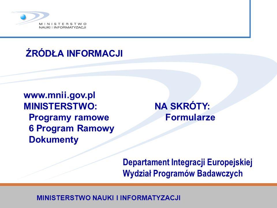 MINISTERSTWO: NA SKRÓTY: Programy ramowe Formularze 6 Program Ramowy