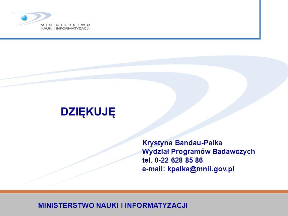 DZIĘKUJĘ Krystyna Bandau-Palka Wydział Programów Badawczych