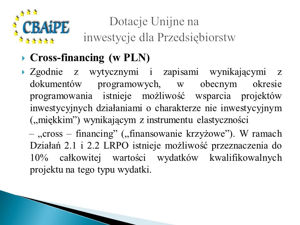 Cross-financing (w PLN)