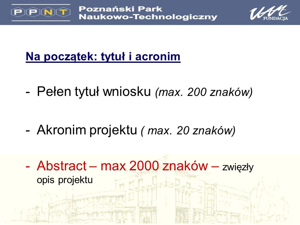 Pełen tytuł wniosku (max. 200 znaków)
