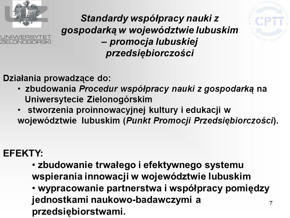 Standardy współpracy nauki z gospodarką w województwie lubuskim – promocja lubuskiej przedsiębiorczości