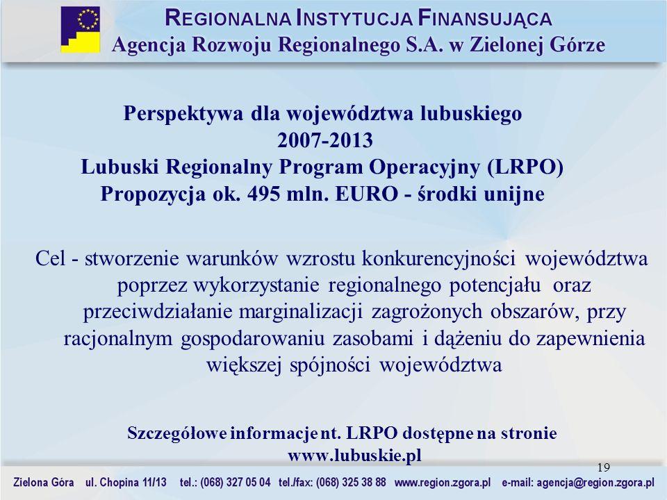 Szczegółowe informacje nt. LRPO dostępne na stronie www.lubuskie.pl