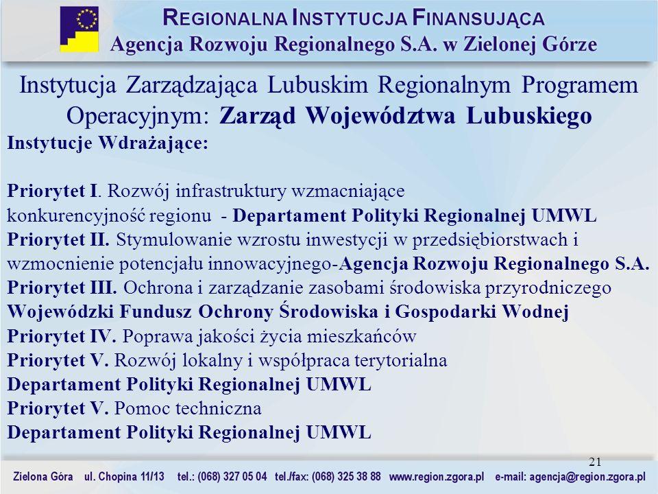 Instytucja Zarządzająca Lubuskim Regionalnym Programem