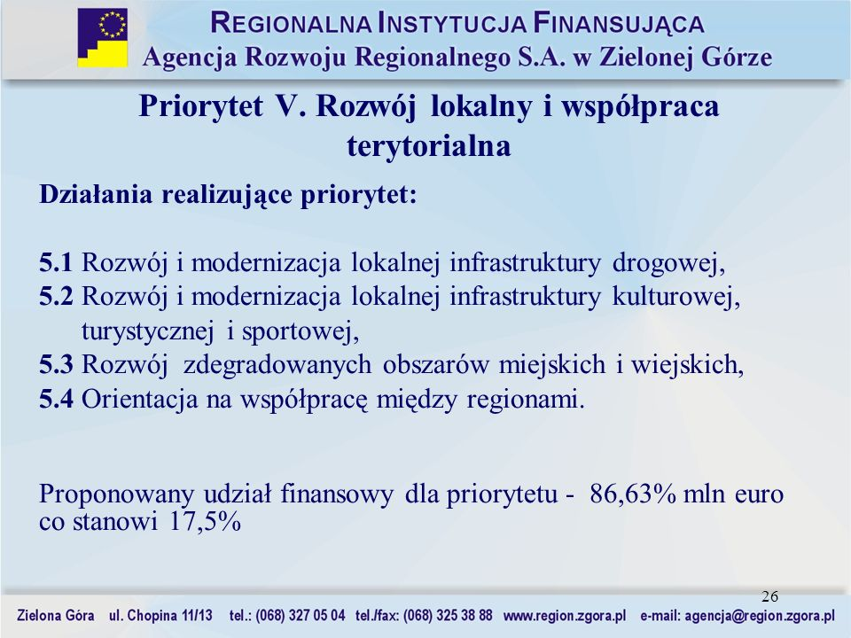 Priorytet V. Rozwój lokalny i współpraca terytorialna