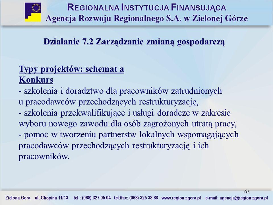 Działanie 7.2 Zarządzanie zmianą gospodarczą