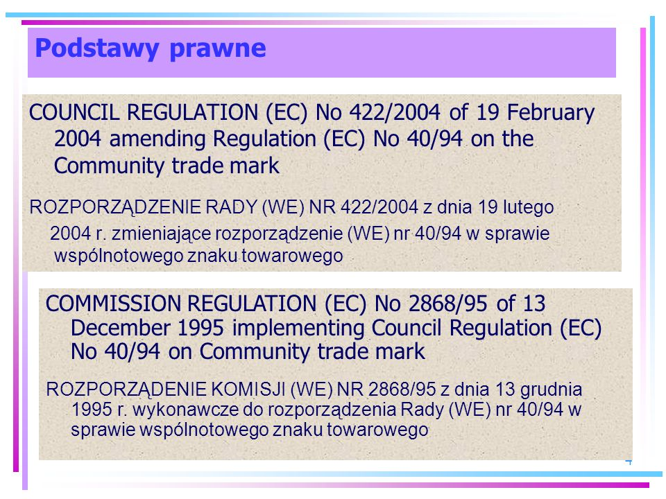 Podstawy prawne COUNCIL REGULATION (EC) No 422/2004 of 19 February 2004 amending Regulation (EC) No 40/94 on the Community trade mark.