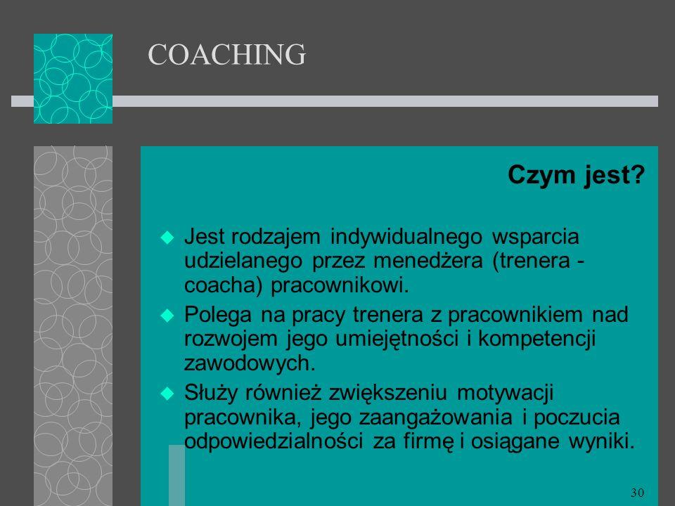 COACHING Czym jest Jest rodzajem indywidualnego wsparcia udzielanego przez menedżera (trenera - coacha) pracownikowi.