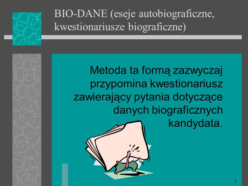 BIO-DANE (eseje autobiograficzne, kwestionariusze biograficzne)
