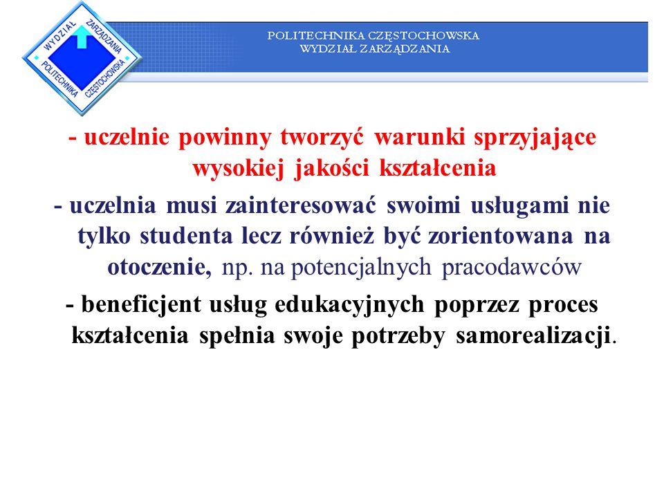 - uczelnie powinny tworzyć warunki sprzyjające wysokiej jakości kształcenia
