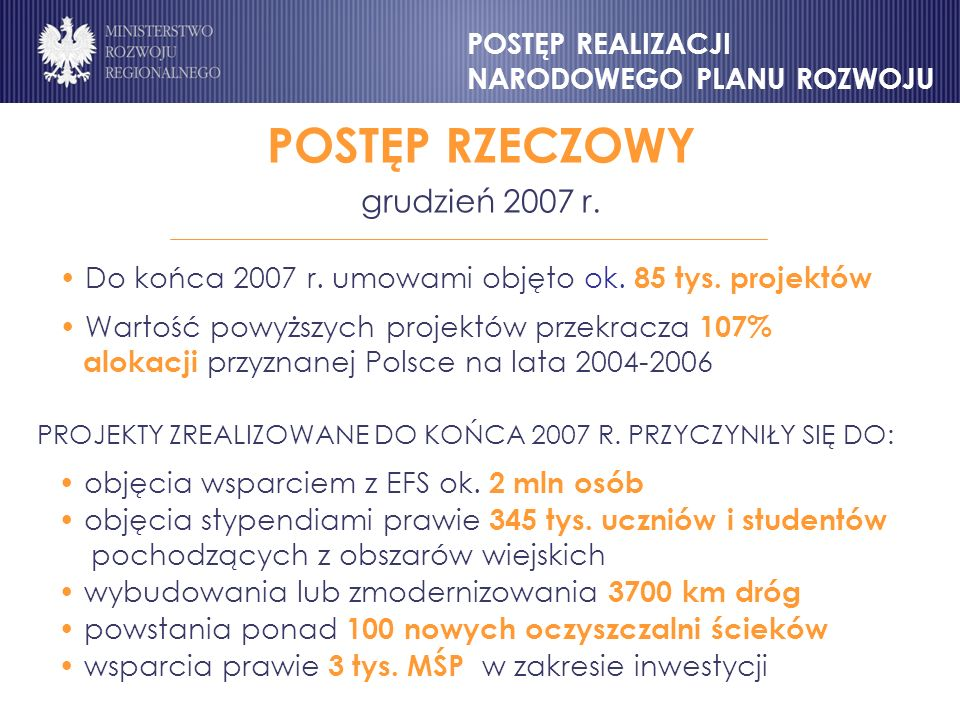 POSTĘP RZECZOWY grudzień 2007 r.