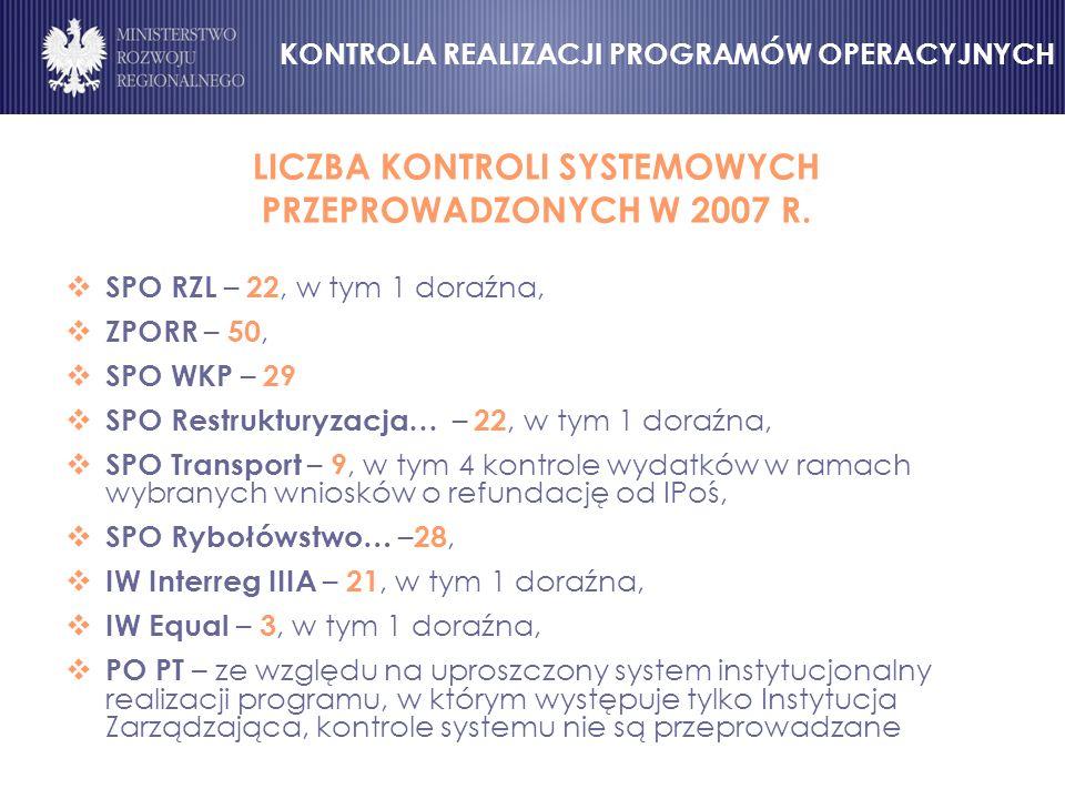 LICZBA KONTROLI SYSTEMOWYCH PRZEPROWADZONYCH W 2007 R.