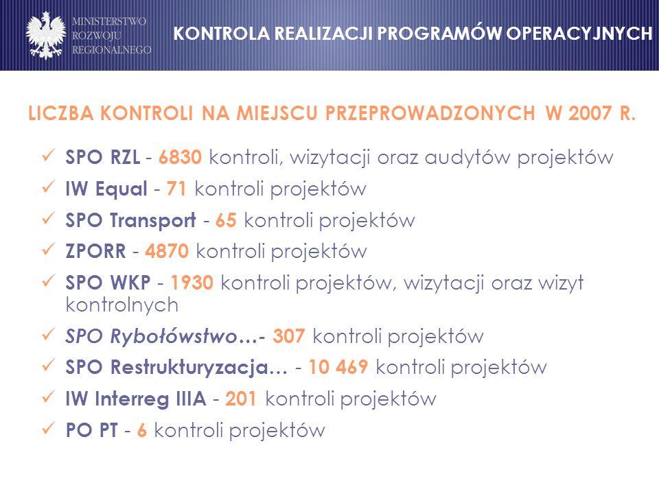 LICZBA KONTROLI NA MIEJSCU PRZEPROWADZONYCH W 2007 R.