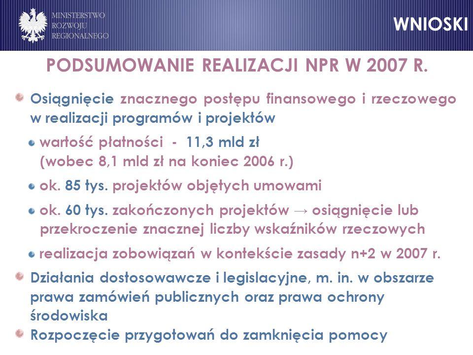 PODSUMOWANIE REALIZACJI NPR W 2007 R.