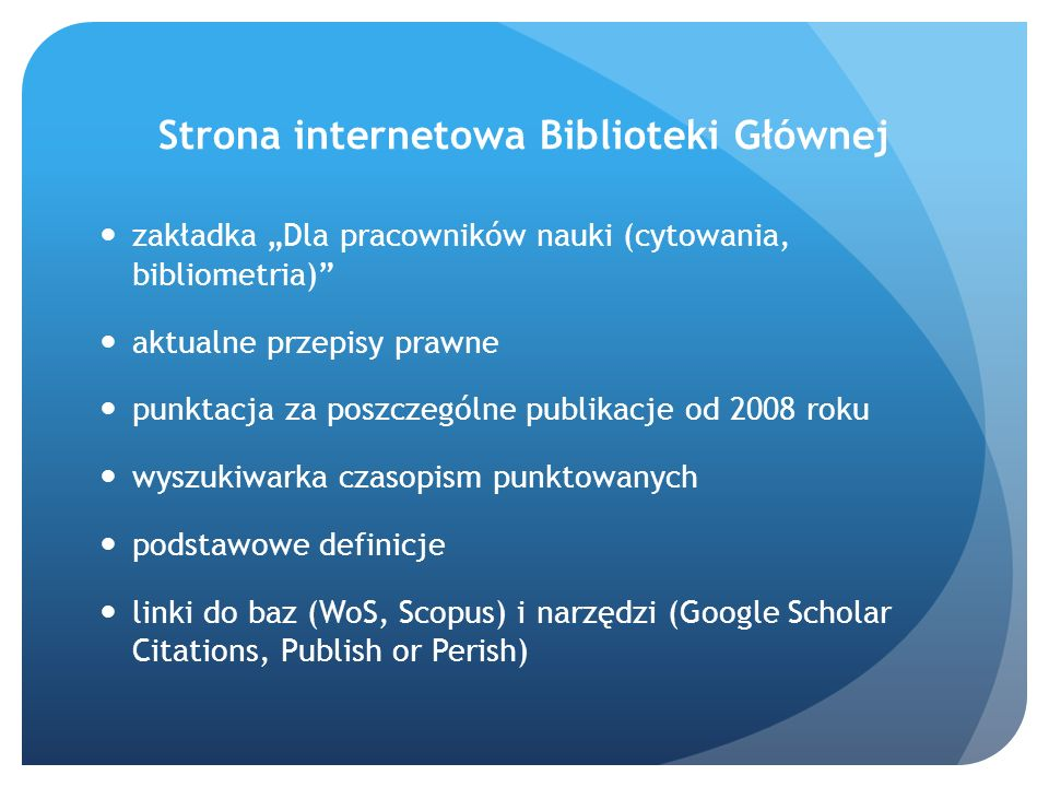 Strona internetowa Biblioteki Głównej