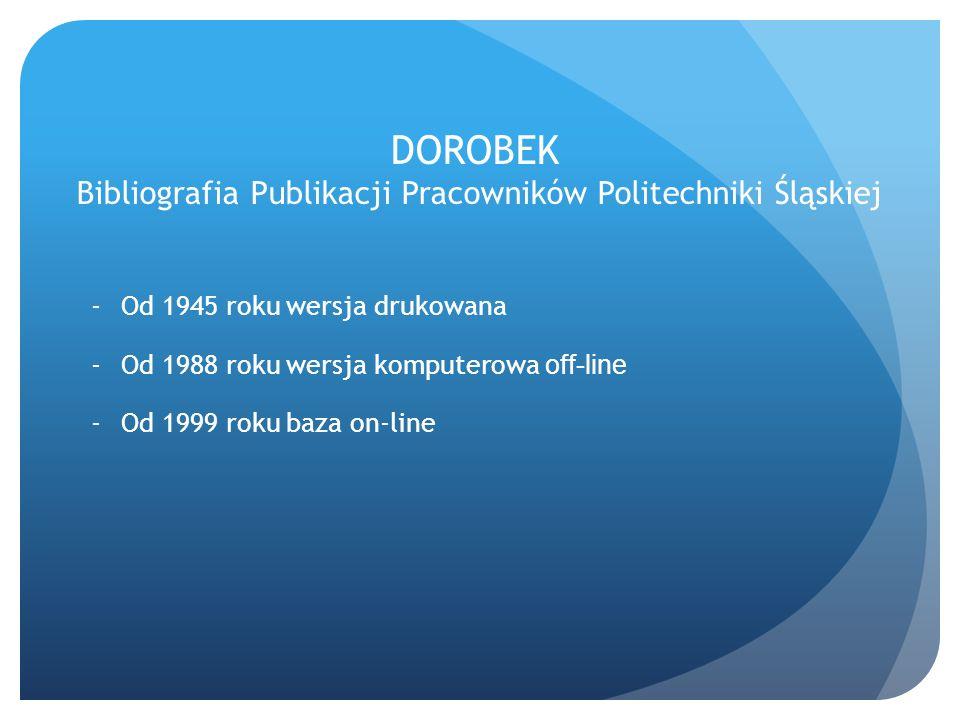 DOROBEK Bibliografia Publikacji Pracowników Politechniki Śląskiej