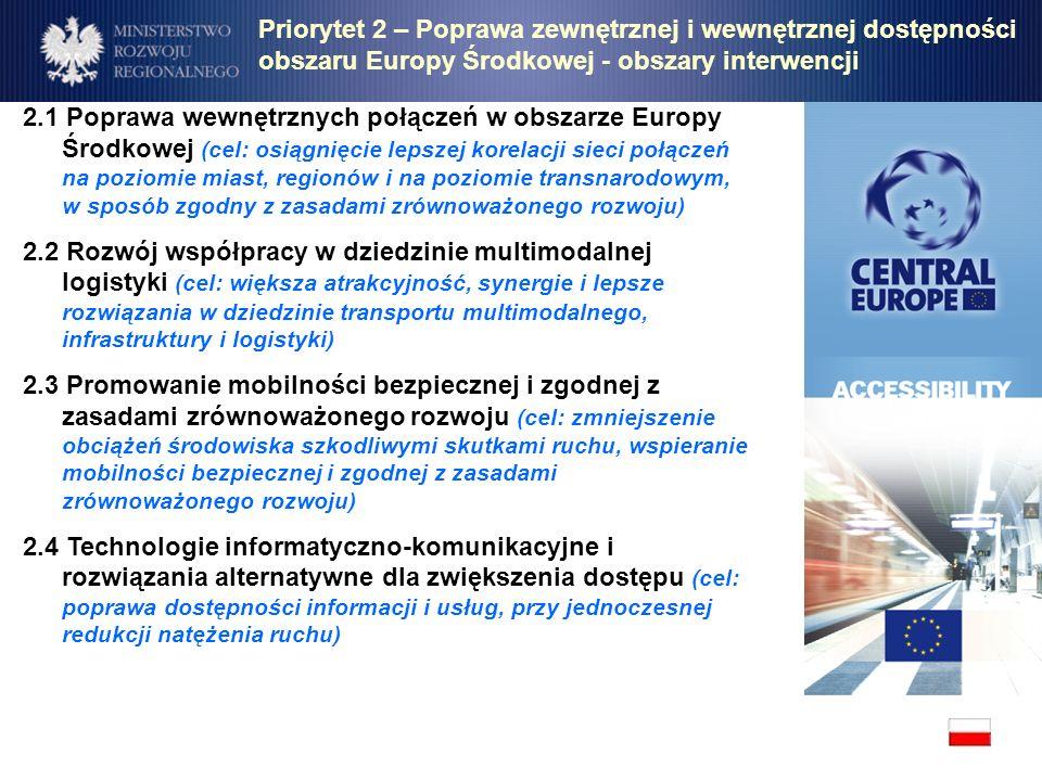 Priorytet 2 – Poprawa zewnętrznej i wewnętrznej dostępności obszaru Europy Środkowej - obszary interwencji
