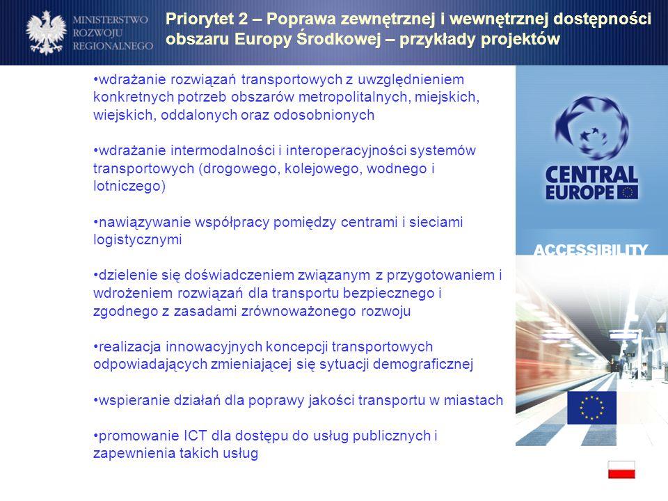 Priorytet 2 – Poprawa zewnętrznej i wewnętrznej dostępności obszaru Europy Środkowej – przykłady projektów