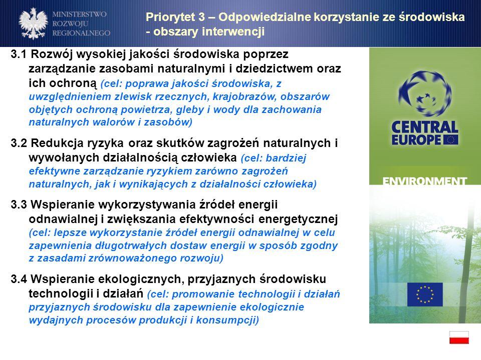 Priorytet 3 – Odpowiedzialne korzystanie ze środowiska - obszary interwencji