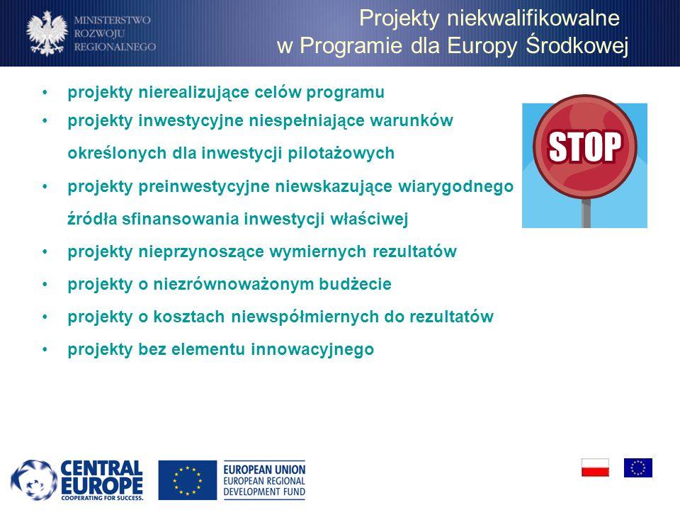 Projekty niekwalifikowalne w Programie dla Europy Środkowej