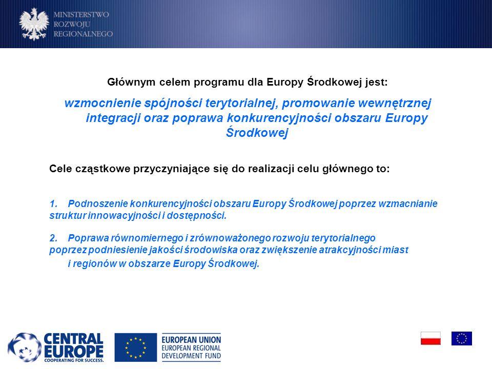 Głównym celem programu dla Europy Środkowej jest: