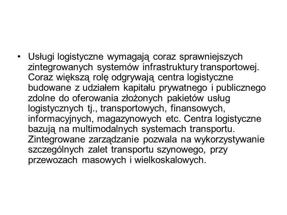 Usługi logistyczne wymagają coraz sprawniejszych zintegrowanych systemów infrastruktury transportowej.