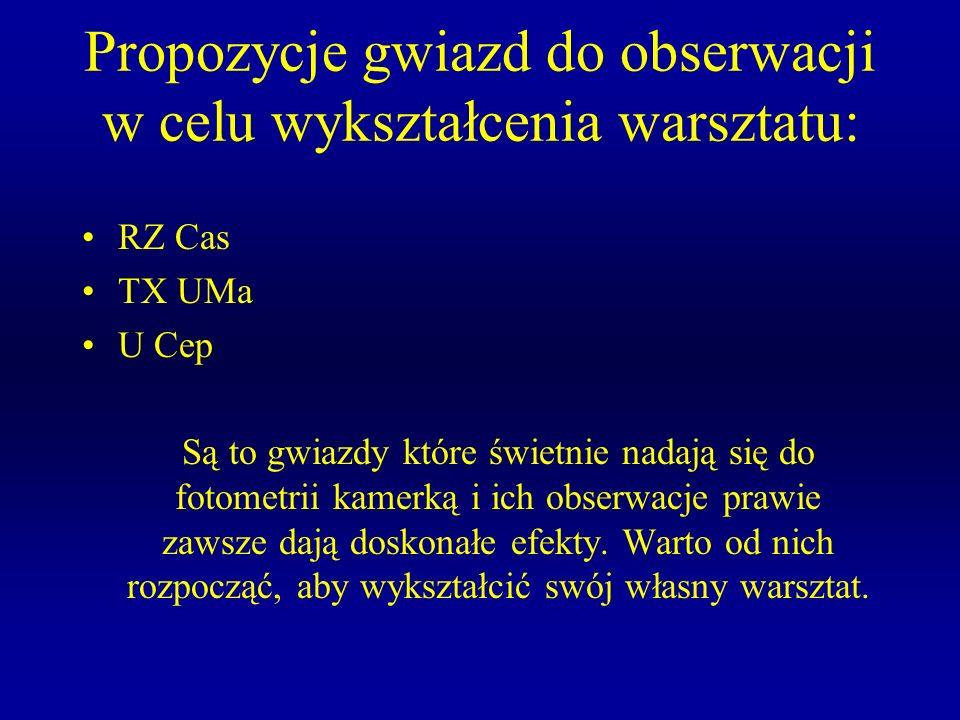 Propozycje gwiazd do obserwacji w celu wykształcenia warsztatu: