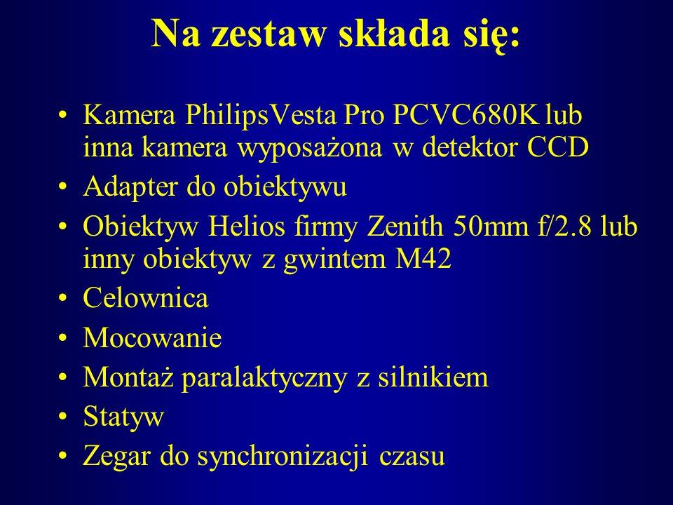 Na zestaw składa się:Kamera PhilipsVesta Pro PCVC680K lub inna kamera wyposażona w detektor CCD. Adapter do obiektywu.