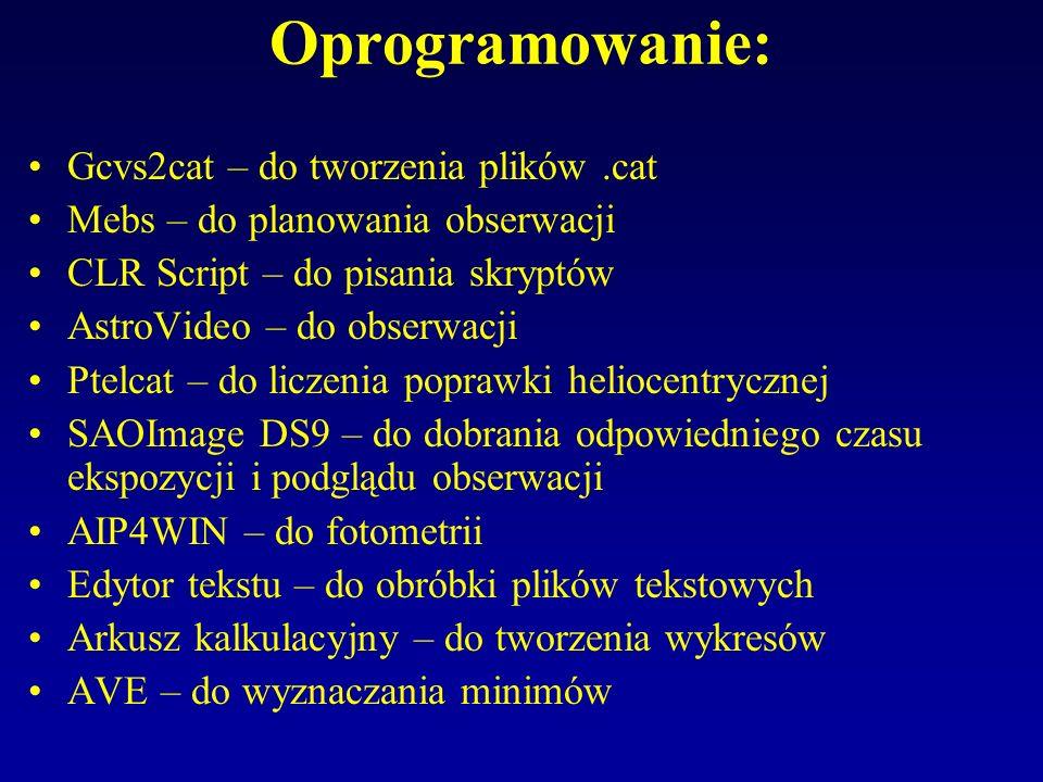 Oprogramowanie: Gcvs2cat – do tworzenia plików .cat